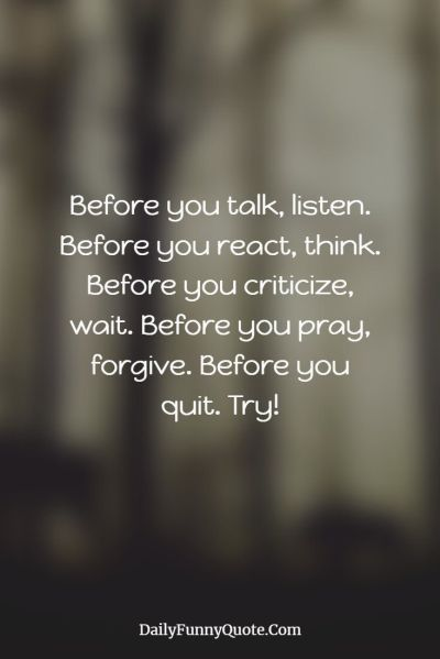 before you talk listen