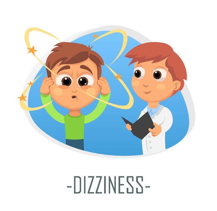 Dizziness medical concept. Vector illustration.
